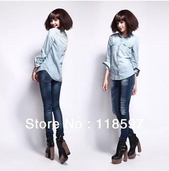 Hot Sale European Fashon Rivet Long Sleeve Denim Shirts For Women Fashion Clothing, Free shipping classic water washing shirts