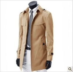 HOT FREE SHIPING Male thin short trench multicolor casual outerwear khaki 1901 f02 p75(China (Mainland))