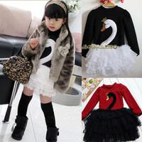 2014 Christmas Vestido Infantil Children's Clothing Spring Princess Dress Plus Velvet Little Swan Puff Female Child One-piece