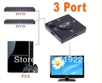 10pcs/lot Mini 3 Port HDMI Switch Switcher HDMI Splitter HDMI Port for HDTV 1080P Vedio,Free Shipping