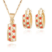 18K Gold Plated Nickel Free Necklace Earrings Sets 2013 Latest Fashion Jewelry Set S044
