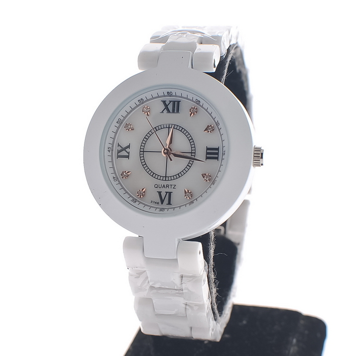 Silver diamond ceramic women&#39;s white ceramic roman numerals watches fashion ladies 3 watch(China (Mainland))
