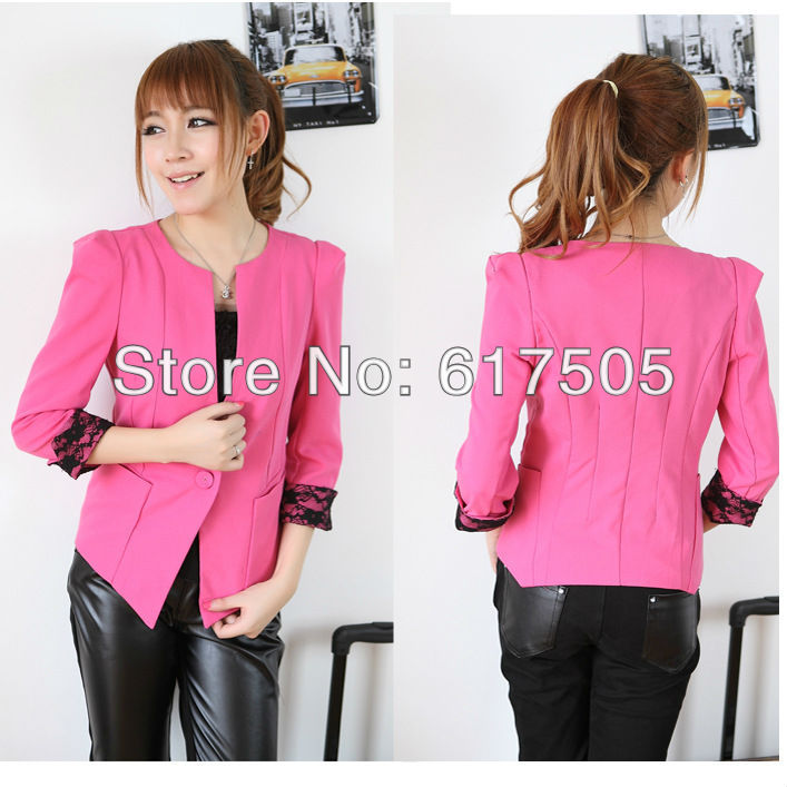 Free Shipping 2013 New Brand Women Lady Candy Fit Blouses One Button OL Turn Back Cuff Lace Lape Blazer Jacket Coat Suit 309(China (Mainland))
