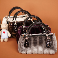 2012 women's handbag innumeracy rabbit fur velvet bag handbag cross-body
