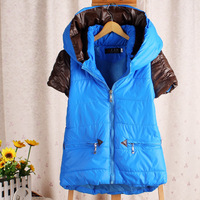 Pu patchwork with a hood thickening clip thermal vest cotton vest 2013 women's outerwear  FREE SHIPPING