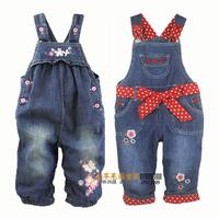 Spring and autumn bib pants nextbabypep beautiful embroidered 100% cotton female child baby denim bib pants jumpsuit