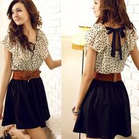 With Belt! hot free shipping 2013 summer new,Korean style short-sleeved sweet dot waist,women stitching chiffon dress wholesale