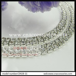 free shipment,2 rows ss16 rhinestone cup chain,very dense rhinestones,10 yards/lot,clear rhinestones with silver metal base(China (Mainland))