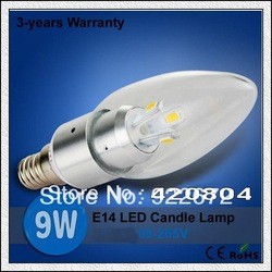 10pcs Free Shipping CREE E14 9W 6 LEDs White/Warm white High Power LED Bulb Lamp Candle Light Energy Saving(China (Mainland))