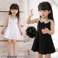 Children /Girl summer 2013 paillette peter pan collar lace one-piece dress 3992,Pink/White/Black,110-140cm