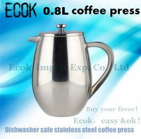 0.8L Free shipping,factory direct sale   stainless steel doubleed wall  coffee french press,coffee plunger with filter