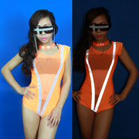Fashion female singer ds costume luminous reflective neon gauze coverall