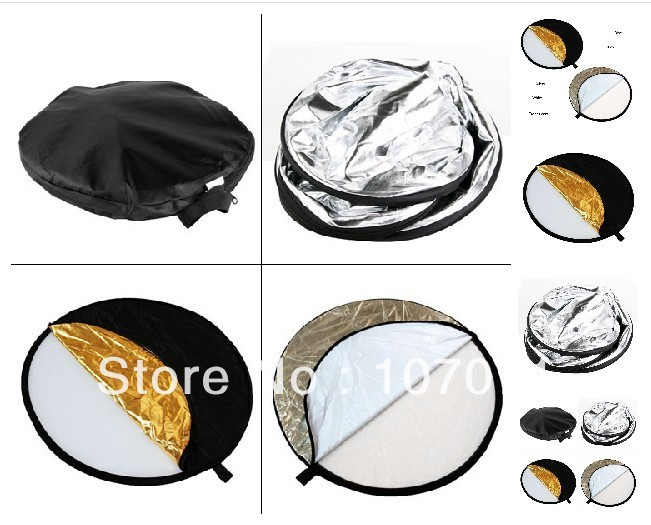 "Flash Diffuser Hot sale! 24"" 60cm 5 in 1 Light Multi Photo Collapsible Reflector(China (Mainland))"