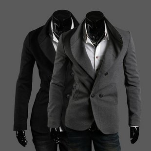 2013 The fall of new Free shipping slim double breasted suit suit collar design discount(China (Mainland))