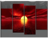 NEW!LARGE RED CANVAS WALL PICTURE SEA SUNSET BEACH (no framed)