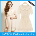 High quality brand summer elegant pleated short sleeve Lace cute chiffon dress for women 2013