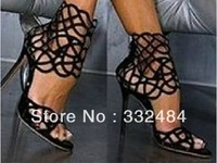 SEXY black out-cuts ankle wrap lady sandals wedding party fashion high heels