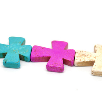 "2013 Fashion Punk Fit Jewerly DIY 1 Strand Mixed Howlite Turquoise Cross Loose Beads 30x36mm(1 1/8""x1 3/8"") Free Shipping"
