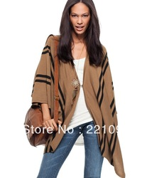 Free shipping fashion women Knit Sweater Shawl Cloak Poncho Vest lady cape cashmere blends girl leisure jacket wool coat SW7699(China (Mainland))