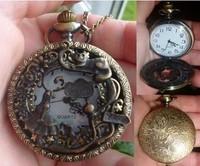 Alice in wonderland pocket watch necklace, antique brass rabbit pendant necklace