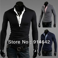 2013 new fashion, cultivate one's morality joker shirt collar T-shirt, men's T-shirt Free Shipping,029