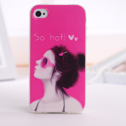 The case of the latest style girl TPU soft silicone phone case, for iphone4/4S/5 free shipping(China (Mainland))