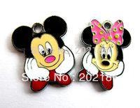 50pcs Mix  minnine&mickey mouse Hang Charms Fit Pet Dog Cat Tag Collar Wristband HC310