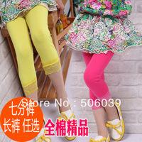 Children's clothing female child summer capris skinny pants big boy all-match elastic candy pants 100% cotton legging