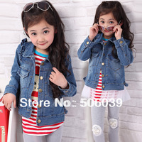 free shipping child spring denim outerwear laciness jacket fashion casual top denim outerwear