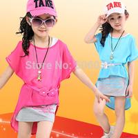 Children's clothing 2013  child summer casual one-piece dress short-sleeve chiffon twinset one-piece dress  summer girls dress