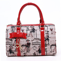 Bags 2012 bag women's handbag cartoon bow PU handbag cylindrical 8