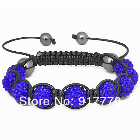 Wholesale Fashion Unisex Handmade Micro Pave Disco Ball Sapphire Crystal Beads Shamballa Wrap Bracelet For Men, 4 pcs SBB089-22(China (Mainland))