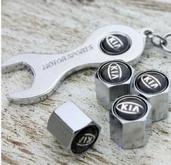 Free shipping! Car Logo Tire Valve Caps 4pcs+Wrench key chain for kia KIA k2 k3 k5 freddy ,Car valve bonnet cover/ tire valves(China (Mainland))