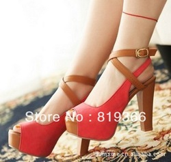 Fashion summer waterproof Taiwan fish mouth high-heeled shoes ladies shoes suede(China (Mainland))