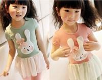 5 pcs/lot girls rabbit short sleeve tshirt short dresses girl's green pink chiffon t shirt kids tshirts free shipping