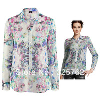 Free shippingThe spot 2013 Spring latest European and American Wind lapel refreshing print chiffon blouse wholesale