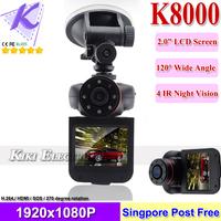 "HD Car DVR K8000 Vehicle Dash Camera Recorder 2.0"" LCD G-Sensor, Motion Detection, Night Vision Singapore Post Free Shipping"