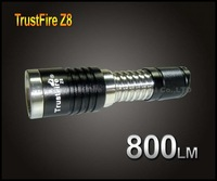 1PC TrustFire Z8 Flashlight 3 Mode 800 LM CREE XML-T6 LED Torch Hiking Camping Stainless Steel Zoomable Flashlight +Retail Box