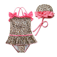 Fashion leopard print princess swimwear child swimwear child female child one-piece swimsuit