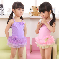Child swimwear female child baby double layer gauze skirt one-piece swimsuit