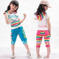 4pcs/lot summer short sleeve children set girls short sleeve clothing set