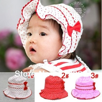 Freeshipping beach sun hats baby summer hat, children's spring bucket cap Boy hat dot bow infant hats