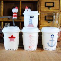 Zakka ceramic cup coffee cup gentry bone china mug cup with lid