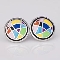 Free Shipping! Circular Shiny Rainbow Enamel Jewelry Earrings, 1 pair/pack
