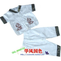 Male child tang suit twinset ssangyong embroidery short sleeve length pants child white(China (Mainland))