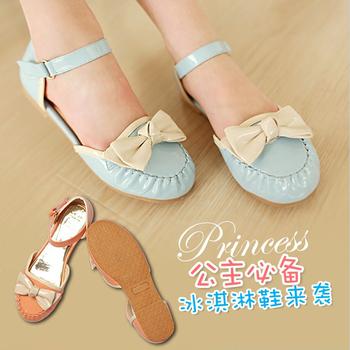 2013 summer children shoes bow child princess female child leather shoes toe cap covering sandals