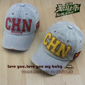 Retro finishing applique sun-shading baseball cap baby spring and autumn child chn denim cap