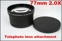 Newest 77mm 2.0X AF External Teleconverter Telephoto Lens Attached Pro Digital Precision Tele Lenses Converter Black 1647