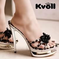 Kvoll satin leopard print rhinestone beaded black bow gold plated platform ultra high heels slippers female shoes