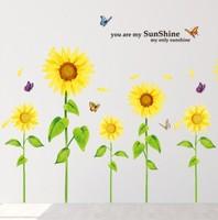 Sunflower  PVC Wall Sticker ,Wall Decal ,Wallpaper, Room Sticker, Home Decor Sticker